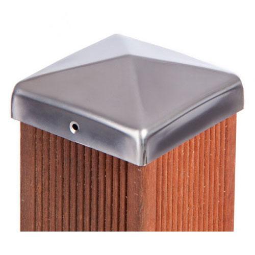 pfostenkappe edelstahl 9 x 9 cm schrauben zaunkappe 91 mm pfostenkappen 91 mm ebay. Black Bedroom Furniture Sets. Home Design Ideas